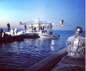 filmoptagelse med rib båd